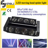 8 * 10W LED RGBW 4in1 Spider Moving Head para o clube (HL-017YT)