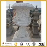 Het goedkope Natuurlijke Witte/Gele Marmeren Beeldhouwwerk van de Bloempot voor de Decoratie van de Tuin