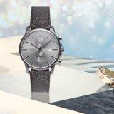 Die neuestes Europa-Form-Leder-wasserdichte Armbanduhr-Mann-Edelstahl-Chronograph-Sport-Uhr 72397