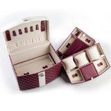カスタム女性PUの革方法記憶のケースの携帯用宝石箱