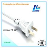 Elektrisches Stecker-Netzkabel Yl-001 mit 6A/10A 2-Pin CCC genehmigt