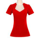 Candow Clothing Deep V Neck Ladies Plain Preto Sexy T Shirt 100% Algodão
