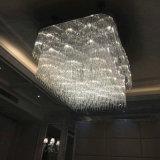 Lâmpada pingente de cristal branco quadrada com projeto de hotel