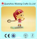 Le chiffre fait sur commande enfants de dessin animé de résine de badminton Bobble la tête