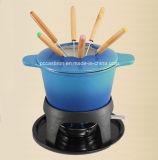 LFGB, CE, FDA, SGS moldeada Chocolate Fondue de hierro con 6 tenedores