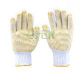 PVC 900g поставил точки перчатки работы перчаток многоточий перчаток хлопка желтые поставленные точки PVC
