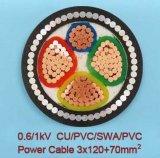Bas câble d'alimentation blindé isolé par XLPE de cuivre de la tension 3+1core