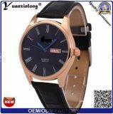 Yxl-391 형식 상표 주문 OEM 날짜 달력 남자 시계 가죽 일본 운동 사업은 우연한 남자의 손목 시계를 본다