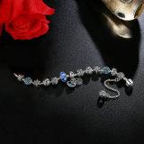 Pendente azul do coração & jóia a céu aberto dos braceletes dos encantos dos grânulos do azul da corrente de segurança