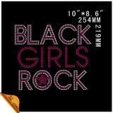 Mayorista de Black Rock Grils personalizado Diseño de cristal Motif Hotfix rhinestones