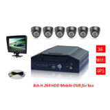H. 264 8CH 3G Car Mdvr avec 8PCS Camera et 7inch Quad Monitor pour Bus/Truck