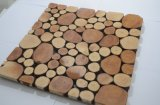 Mosaico de madera viejo material de la pared de la sala de estar