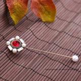 도매 형식 보석 신선한 빨간 진주 모조 다이아몬드 브로치