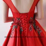 Schutzkappen-Hülsen-Ballkleid-Satin-Stickerei-Abschlussball-Kleid