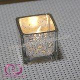 Modernes Quadrat-galvanisiertes Glaskerze-Halter-Kerze-Cup mit kleinen Punkten