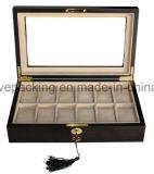 12 boîtiers de montre en bois solide de fentes pour la boîte de présentation de mémoire des hommes