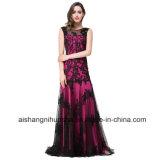 Frauen-schwarze Spitze-Nixe-Sleeveless reizvolles Abend-Partei-Abschlussball-Kleid