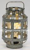 Ronda de decoración de metal galvanizado Linterna de camping con LED Bombilla