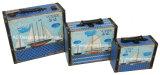 S/3 훈장 앙티크 포도 수확 PU Leather/MDF 나무로 되는 저장 여행 가방 상자를 인쇄하는 빨간 수탉 디자인
