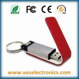 Llavero de cuero de memoria Flash USB