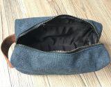 革ハンドルが付いている旅行洗面用品袋のキャンバスのDoppキット