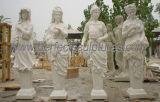 切り分ける4季節の彫刻(SY-X1703)が付いている旧式な庭の石の彫像を