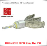 LED 헤드라이트 최고 밝은 LED Headlamp 4800lm 크리 사람 Xhp50 칩 40W 백색 색깔 알루미늄 LED 차 빛