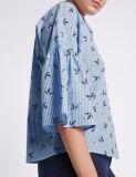 Blusa de manga de 3/4 de lã de algodão puro de alta qualidade
