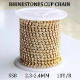 Encadenamiento cristalino de la garra de los Rhinestones del encadenamiento de la taza de Strass de la garra del oro (cristal de RC ss8)