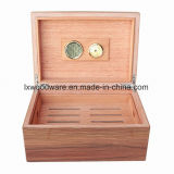 L'artisanat en bois marron finition piano Humidor Cigar Box