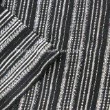 de Garen Geverfte Stof van het Kledingstuk van het Huis van de Streep van de Jacquard 100%Linen Zwart-witte