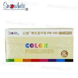 Signe de fournitures de bureau stylo plume Fineliner Pb100 avec 8 couleurs assorties