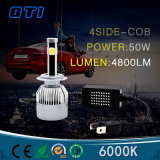 High Power 50W H4 Hi / Lo Beam Luxeon Chip para farol LED de carro