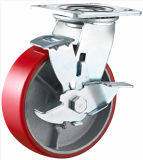 Side Brake Heavy Duty PU sur Iron Caster
