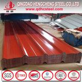 Hoja galvanizada coloreada del material para techos del hierro acanalado