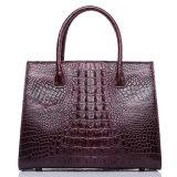 Sacchetto di Tote reale personalizzato superiore del cuoio del coccodrillo del vino rosso di disegno per le donne