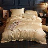 Luxuxbett-Blatt-gesetzter Bettwäsche-Ansammlungduvet-Deckel des Satin-4-Piece/des Baumwollsatins seidiger stellt flaches Blatt-Set ein
