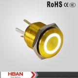 Aangepast Dekkleur Gele Alluminum de 16mm LEIDENE Lichte Schakelaar van de Ring