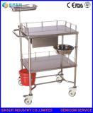 Carretilla de múltiples funciones del cambio de la preparación médica del acero inoxidable de los muebles del hospital