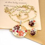 Collar Colgante redondo Artificial Custume Esmalte Conjunto de joyas