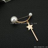 5 날카로운 별 펀던트 진주 브로치 원형 단추 Pin 숄 스카프 부속품