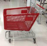 スーパーマーケットの圧延のショッピングプラスチックバスケットはトロリーを動かす
