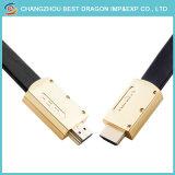 Goldenes preiswertes HDMI Kabel 1080P mit Gold überzogenem Stecker-Mann zum Mann