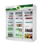 Três portas Energy Drink Chiller de visualização vertical