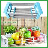 台所フルーツの流しの皿乾燥ラックホールダーの水切り器のバスケットのステンレス鋼