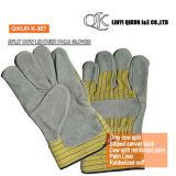 K-303 серый коровы Split полного упора для рук с резиновым покрытием гильзы манжеты Canvas назад кожаные рабочие перчатки