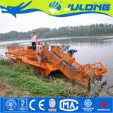 강과 호수에 있는 뜨 쓰레기 물 위드를 모으는 강 청소 기계 또는 배 또는 배 또는 수확기
