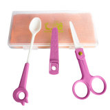 Artículos de seguridad de bebé para cuchara de cerámica y juego de tijeras de alimentos