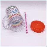 Vente chaude ! Tasse de café en plastique de Tritan de protection de l'environnement avec la paille