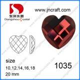 Il vetro ha decorato il cuore che degli accessori la parte posteriore piana borda (DZ-1035)